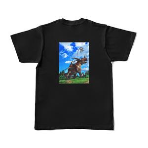 かちあげ(Tシャツ_黒)背面プリント【恐竜グッズ】