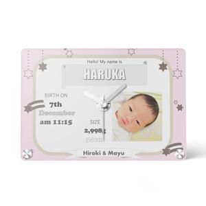 【オーダーメイド】出産祝い、内祝い、命名表♡名入れオーダーメイド時計♡写真入り
