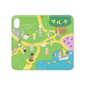 バナナピクニック手帳型iPhoneケース XS/X(ベルトなしマグネット)