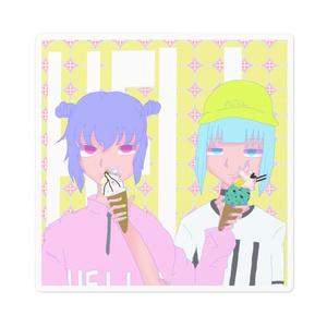 優美と柚綺のアイスステッカー
