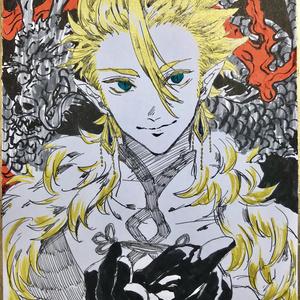 ミニ色紙「金の龍」