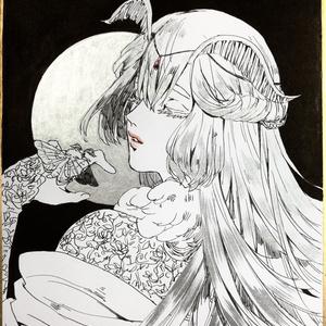 ミニ色紙「銀の月」