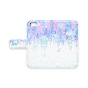 幻想的*藤とクラゲの手帳型iPhoneケース【白】