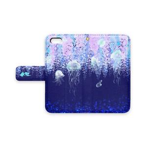 幻想的*藤とクラゲの手帳型iPhoneケース【紺】