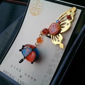 蝶と傘のイヤーカフ