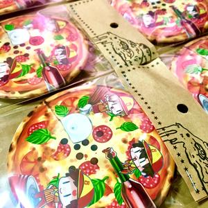 【テマリ・カンクロウ・我愛羅】ピザ風75mm缶バッチ