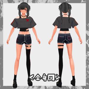 【VRoid用】パンク風ファッションセット