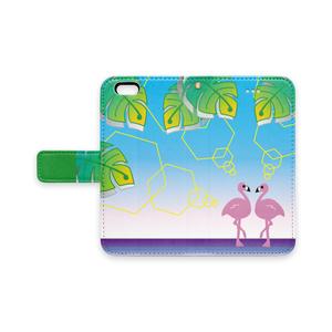 フラミンゴ 葉柄 iPhone 手帳型 スマホケース (pn-1009)