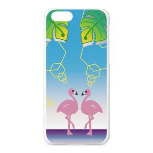 フラミンゴ 葉柄 iPhone スマホ ハード ケース(pk-1009)