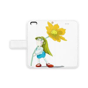 花と小さい女の子 iPhone 手帳型 スマホケース (pn-1011)