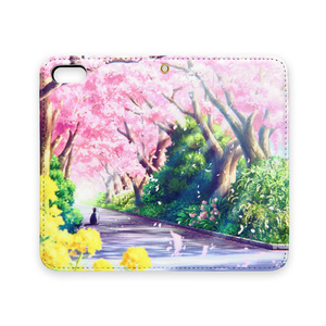 [手帳型iPhoneケース(ベルトなし)]  春のお散歩
