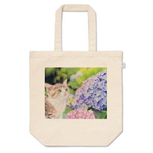 [トートバッグ] 猫と紫陽花