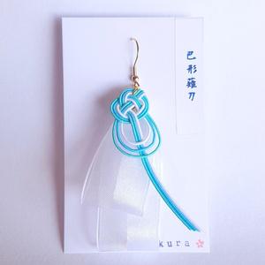 水引×リボンの片耳ピアス/イヤリング【巴形薙刀ver.】