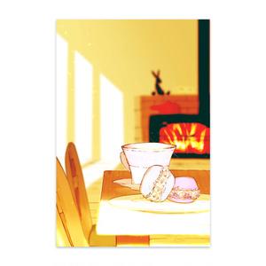 ポストカード(紅茶とマカロン)