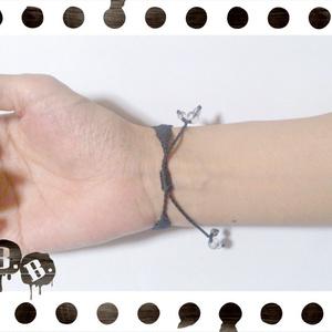 三連ブレスレット【ミックスジェイドレッド】【ブラックコード】【ハンドメイドアクセサリー】