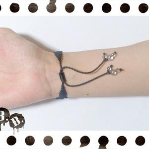 三連ブレスレット【ミックスジェイドブルー】【ブラックコード】【ハンドメイドアクセサリー】