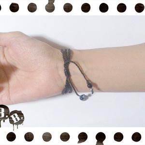 三連ブレスレット【ブルーオーラ】【ブラックコード】【ハンドメイドアクセサリー】