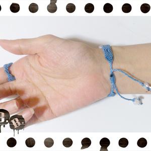 ツリーのブレスレット・リングセット【ホワイトジェイド】【スカイブルーコード】【ハンドメイドアクセサリー】