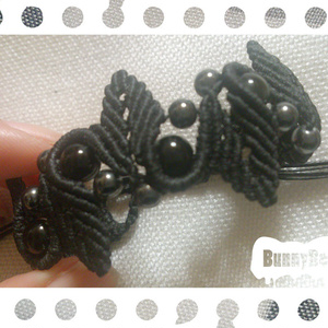 ブレスレット【レインボーオブシディアン】【ブラックコード】【ハンドメイドアクセサリー】