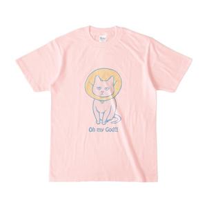 猫のTシャツ(淡色シャツ・ピンク)