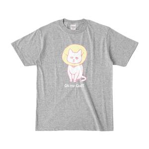 猫のTシャツ(濃色シャツ・グレー)