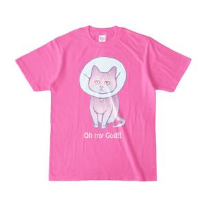 猫のTシャツ(濃色シャツ・ピンク)