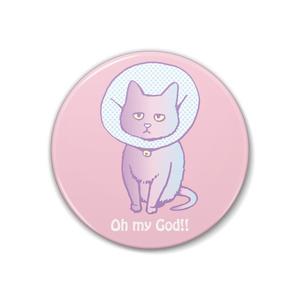 猫の缶バッジ(ピンク)
