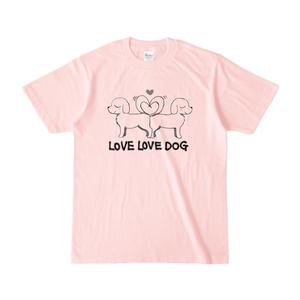 LOVE LOVE DOG Tシャツ(ピンク・アッシュ・パープル)