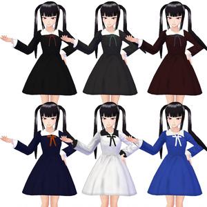 【VRoid】ワンピース制服2種×6色セット(リボン付き)