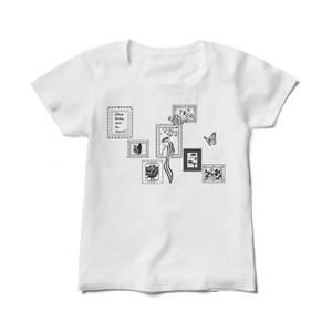シマリス考_シマリスと額_ヨコ_レディスTシャツ