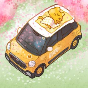 【無料配布】壁紙「桜と車とエアネコさん」