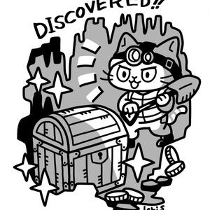 宝を発見する猫Tシャツ