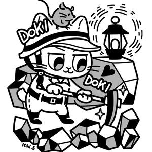 採掘をする猫Tシャツ