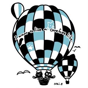 気球に乗る猫Tシャツ(白地)