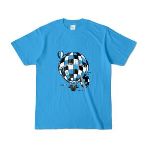 気球に乗る猫Tシャツ(青地)