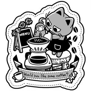 コーヒーをいれる猫Tシャツ
