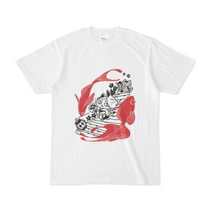 祭りへ行く猫Tシャツ(赤い金魚)