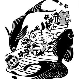 祭りへ行く猫Tシャツ(黒ラグランTシャツ)