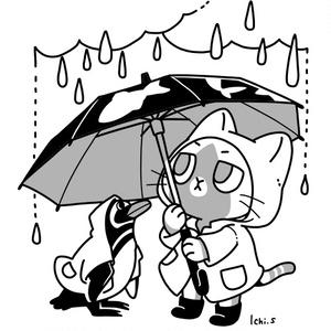 お気に入りの傘をさす猫Tシャツ