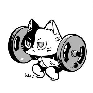 トレーニングをする猫Tシャツ