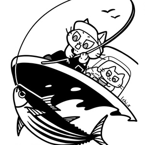 船釣りをする猫Tシャツ
