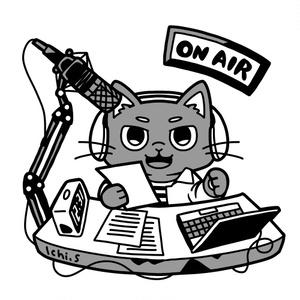 ラジオ収録をする猫Tシャツ