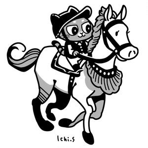 乗馬をする猫Tシャツ