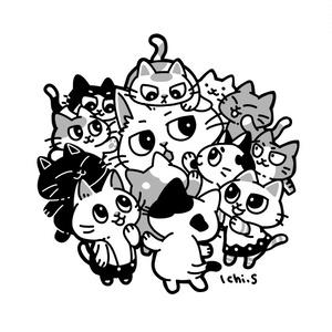 子ども猫にまみれる猫Tシャツ