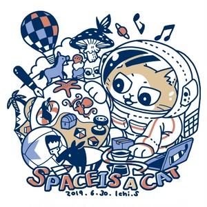 宇宙は猫Tシャツ(カラーイラストver)