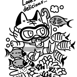 スキューバダイビングする猫(黒ラグランTシャツ)