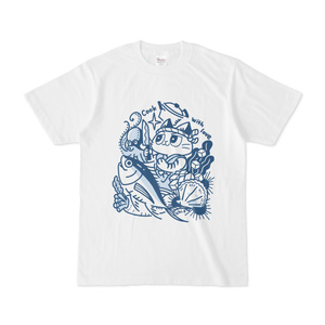 料理をする猫Tシャツ(カラーイラストver)