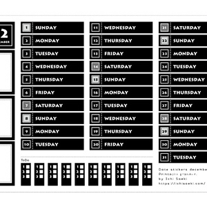 シンプルなモノクロ12月の日付シート