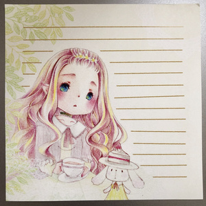 tea time・・*withUオリジナル便箋10枚入り*ましかく便箋