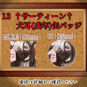 13 †サーティーン†【戌年イラスト缶バッジ】コンパス